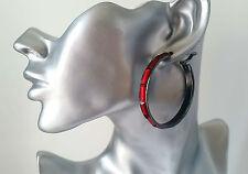 """Beautiful hematite - dark silver tone & red bead hoop earrings 2"""" - 5cm * NEW *"""