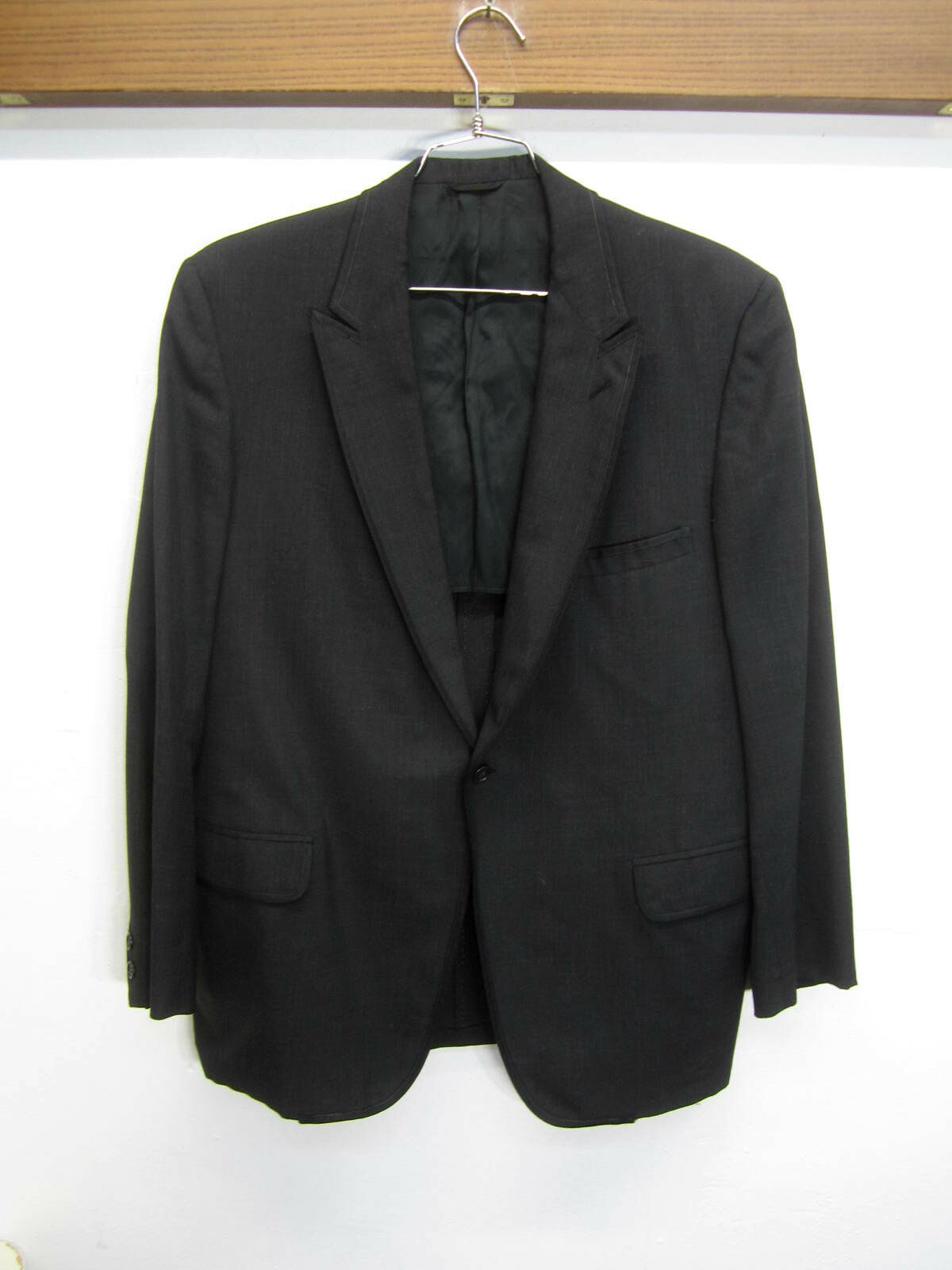 Vtg Lord West Blazer Sport Coat charcoal wool one button sz 42R made in USA