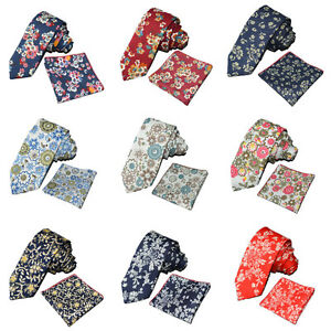 Men-Colorful-Floral-Flower-Cotton-Necktie-Hanky-Pocket-Square-Handkerchief-Set