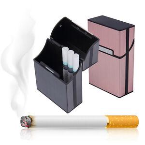 Zigarettenbox-Zigarettenetui-Alu-Edel-Aluminum-Tabak-Halter-Zigarettendosen-Heiss
