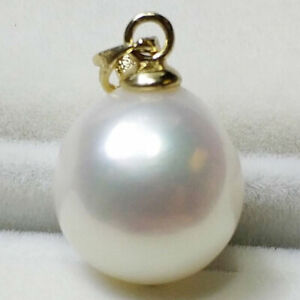 WHITE-BAROQUE-11x12MM-SOUTH-SEA-PEARL-PENDANT-14K-Jewelry-Women-teardrop-Hang