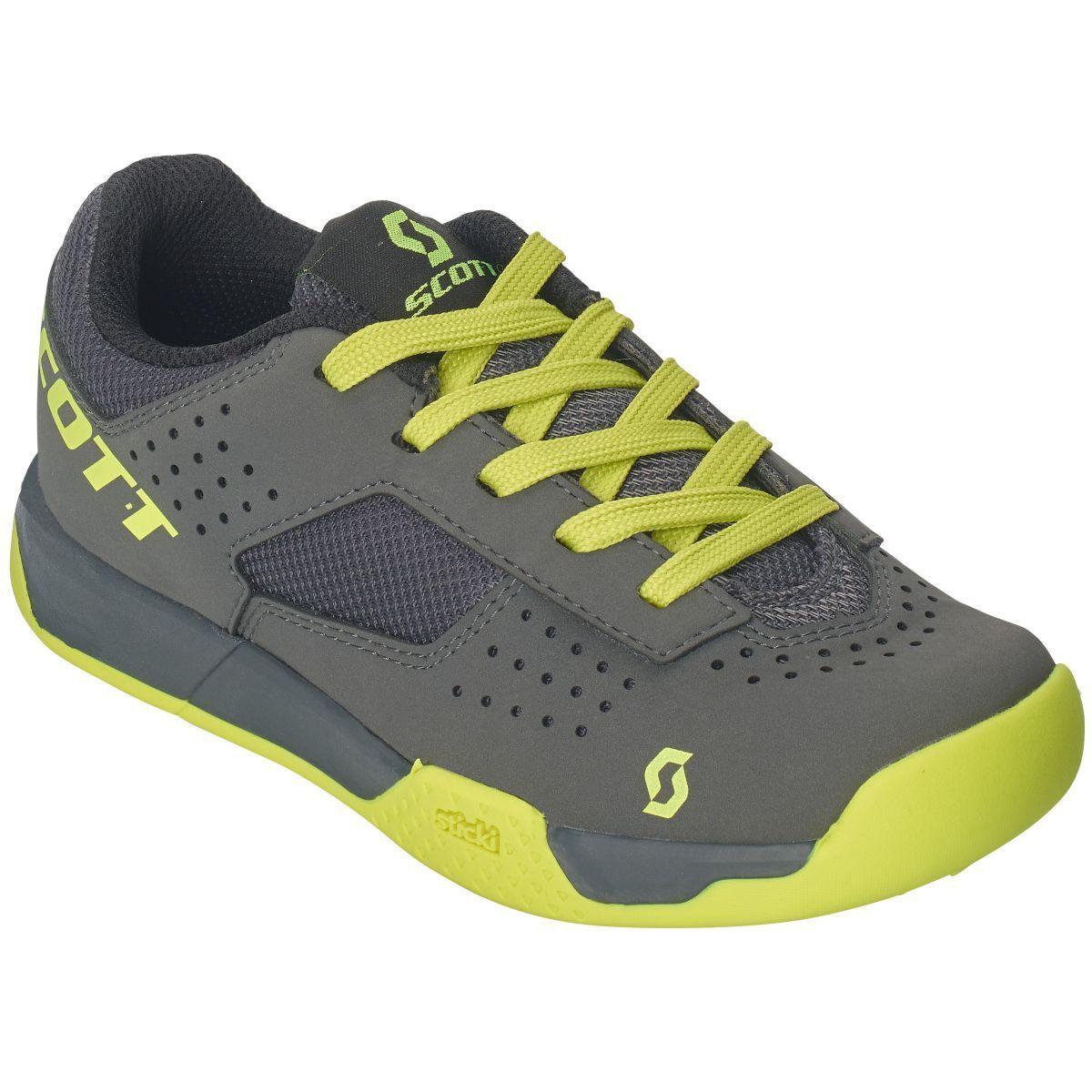 Bici de los cabritos de MTB Scott AR encaje zapatos gris amarillo 2019