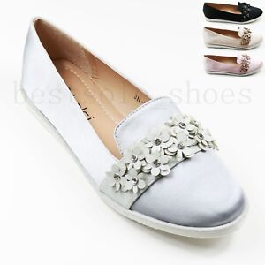 4fd8887439d Ladies Flat Chunky Sole Loafers Pull On Floral Embellished Pumps ...