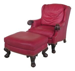 Details About 29537e Stanford Large Red Leather Chair Ottoman