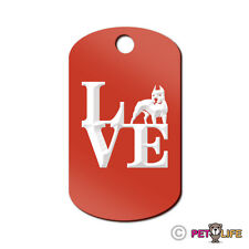 Love Pit Bull Engraved Keychain GI Tag dog park APBT Many Colors