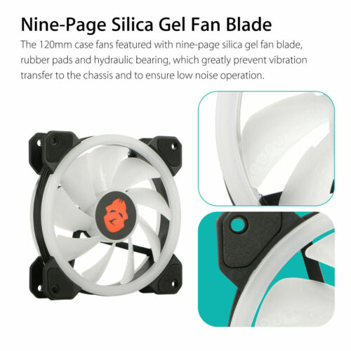 3-Pack LED Cooling Fan RGB 120mm 12V w// Remote Control For Computer Case PC CPU