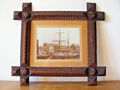 Antique Sailor Maritime Folk Tramp Art Picture Frame Kerbschnitt Foto Sail Ship