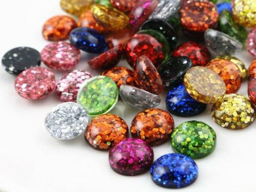 12mm Glitter Resin CabochonsMixed Colours40pcs