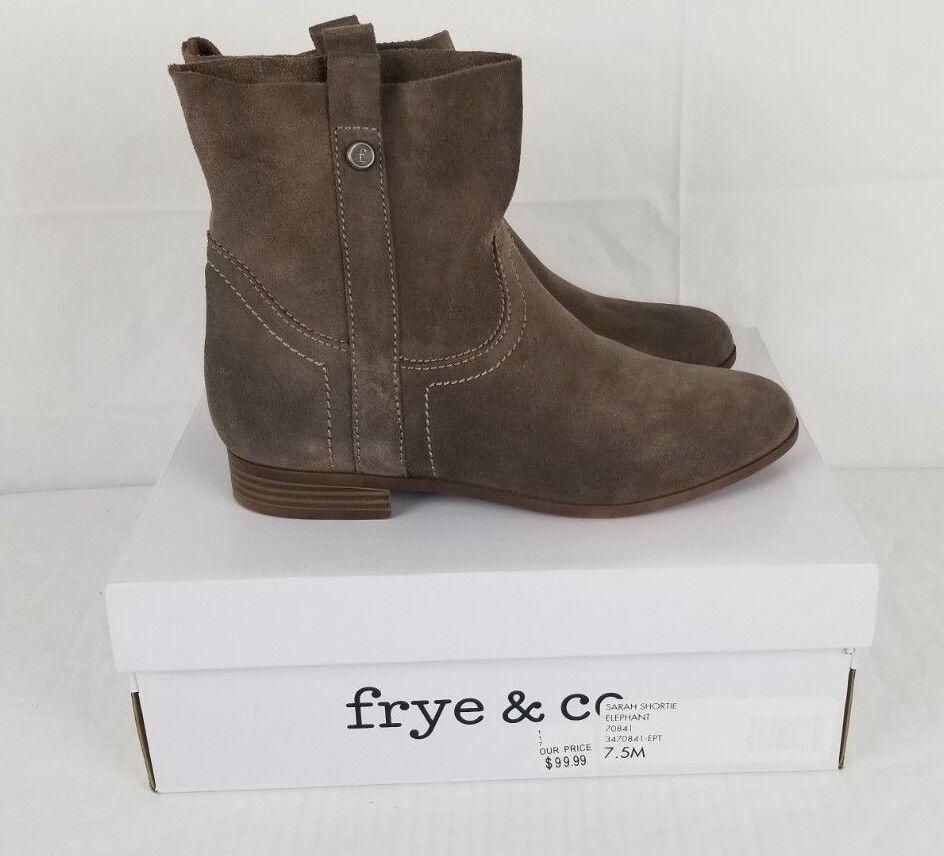 NIB Frye & Co. damen 7.5 Sarah Shortie Elephant braun pull-on Suede ankle Stiefel