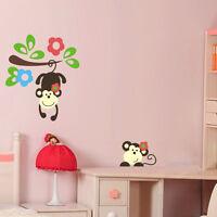 3 farben wandtattoo affe auf der palme dekortattoo dschungel kinderzimmer ebay. Black Bedroom Furniture Sets. Home Design Ideas
