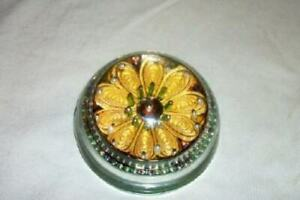 GLASS-DOME-PAPERWEIGHT-QUILLED-FILIGREE-FLOWER-BEADS-MID-CENTURY-OOAK-VINTAGE