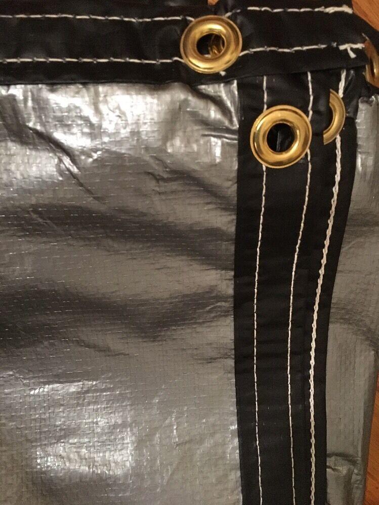 1,8 M x 9,1 M Poliestere Z argentoo Nero Tela Cerata 18   Anelli di Tenuta