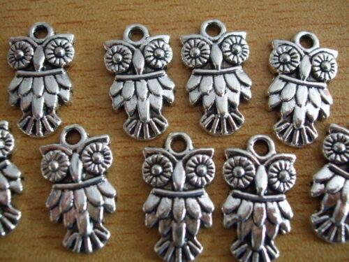 Tibetan silver ruffled owl charms x10 18mm shabby chic kitsch bird C25 UK SELLER