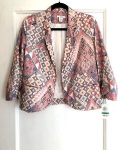 Bar-III-Women-039-s-Red-Blue-Tan-Aztec-Abstract-Print-Open-Front-Blazer-Size-Large