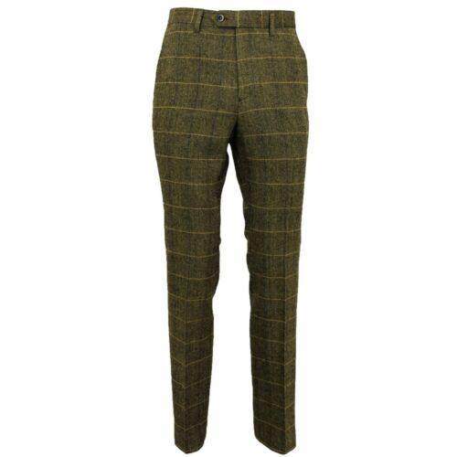 Mens Vintage Tweed Check Herringbone Peaky Blinders Trousers Suit Wool Slim Fit