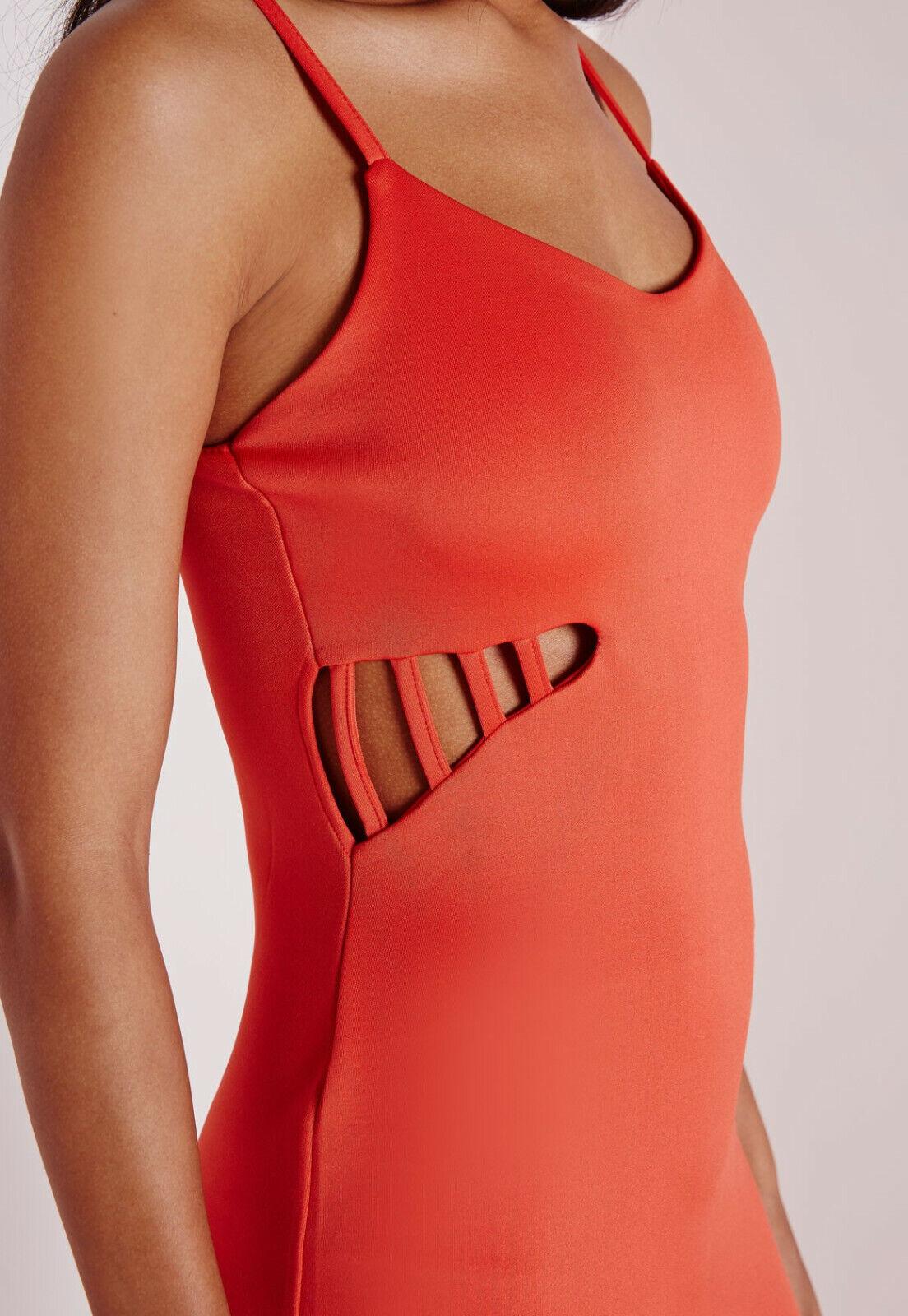 Missguided orange Strappy Stretch Bodycon Cut Out Mini Dress Size 16 BNWT