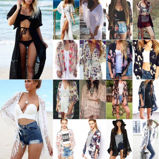 Women Boho Gypsy Floral Kimono Cardigan Jacket Beach Cover Up Chiffon Blouse Top