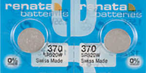2 x Renata 370 Watch Batteries, 0% MERCURY equivalent SR920W, Swiss Made