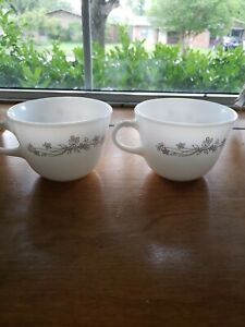 "Pair of Vintage Pyrex Ribbon Bouquet Coffee Mug Cup Milk Glass 3"" Corning"
