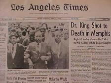 VINTAGE NEWSPAPER HEADLINE ~CRIME Dr MARTIN KING DEAD GUN SHOT KILLED MEMPHIS~
