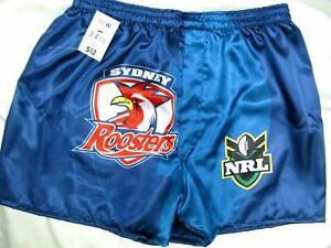Mens-boxers-shorts-Roosters-Sydney-soft-satin-Size-L-1760-Acorn-k