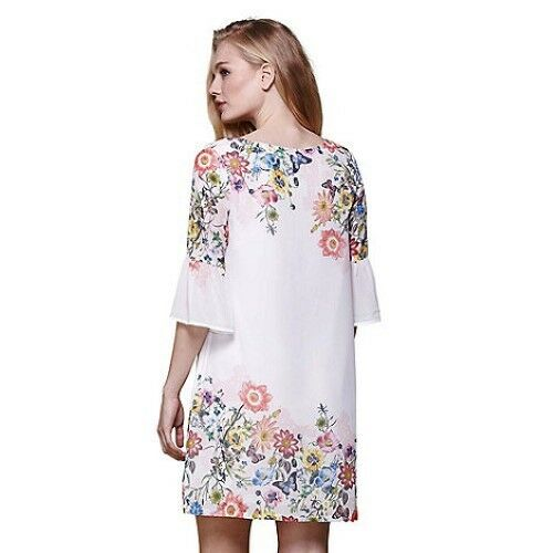 03 8 Gg Floral Size Sleeve Uk Dress Yumi Rrp Flared Ivory £45 Dh091 Tunic RSxBq
