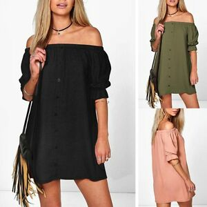 Fashion-Sexy-Womens-Ladies-Casual-Dress-Off-the-Shoulder-Shirt-Top-Tops-UK-6-18