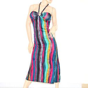 Abiti Da Sera Colorati.Abito Lungo Donna Vestito Colorato Copricostume Da Sera 76 Ebay