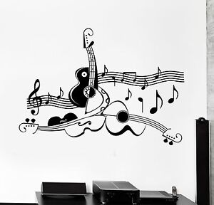 Wall Sticker Guitar Sheet Music Cool Living Room Decor Vinyl Decal Ig1228 Ebay