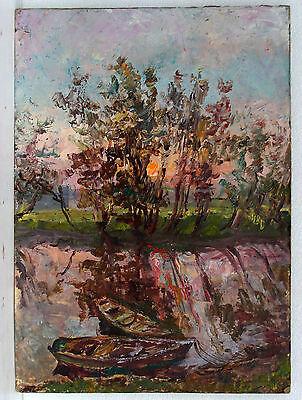 Original Ukrainian Impressionism Social Realism USSR Oil Painting Landscape 1994