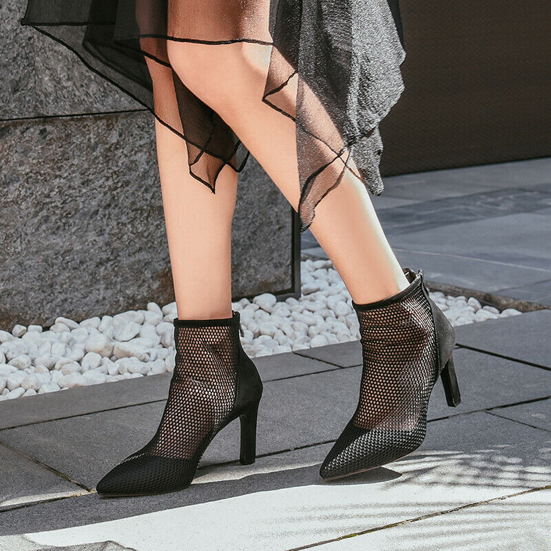 High Heels Ankle Boots Mesh summer Pointed Toe Vogue Sandals shoes Pumps