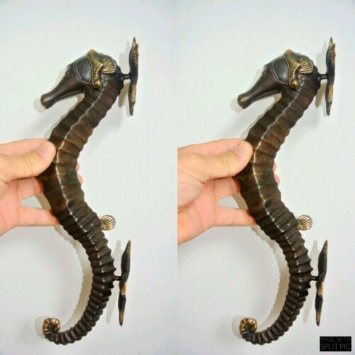 """2 large aged SEAHORSE solid brass door old style 13/"""" PULL handle bronze patina B"""