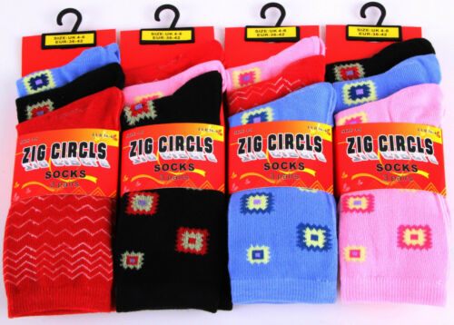 6 Pairs Ladies Women/'s Coloured Design Socks Comfy Stylish Designer Adults Size