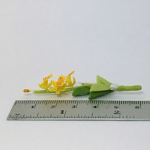 Handmade Clay plant Yellow Orchid Dollhouse Miniature Flower Garden Accessory