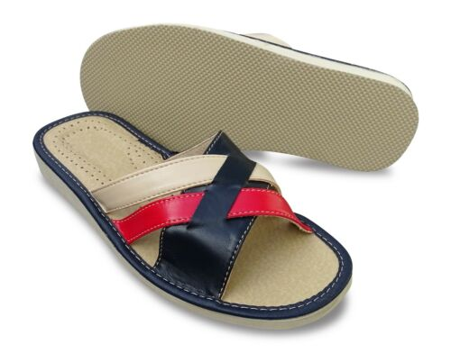 Pantoufles Femmes Cuir-Imitation Pantoufles Mules rouge//bleu//crème Taille 37-41