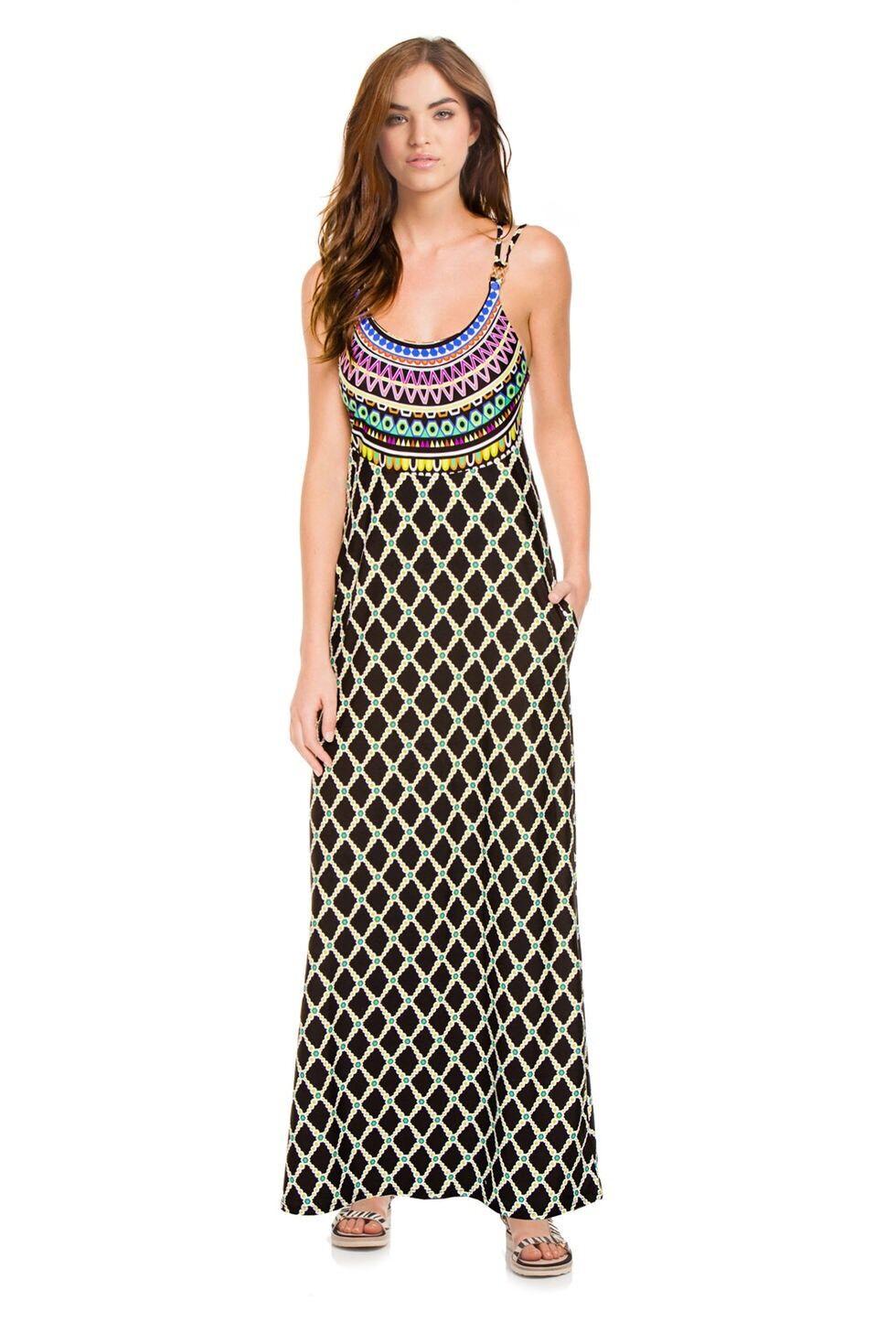 NWT   Sz Medium M Trina Turk Kon Tiki Swim Cover Maxi Dress Gorgeous