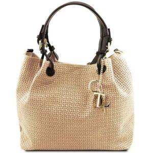 Dettagli su TL KeyLuck Borsa shopping in pelle stampa intrecciata Tuscany Leather
