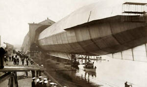 OLD PHOTO The Launch Of The Vickers And Sons Naval Airship named Mayfly