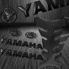 "ProGrip Perforated Black Fuel Tank Pad+5.75""3D Yamaha Logo+Letter Emblem Sticker"