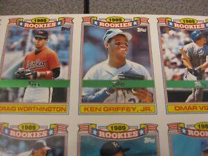 Details About Rare 1990 Topps Glossy Rookies Foil Test 1 33 Set Uncut Sheet W Ken Griffey Jr