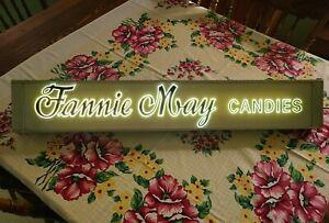 """VINTAGE NEON PROD. INCORP ELECTRIC 37"""" SIGN FANNIE MAY CANDIES CHICAGO - WORKS"""