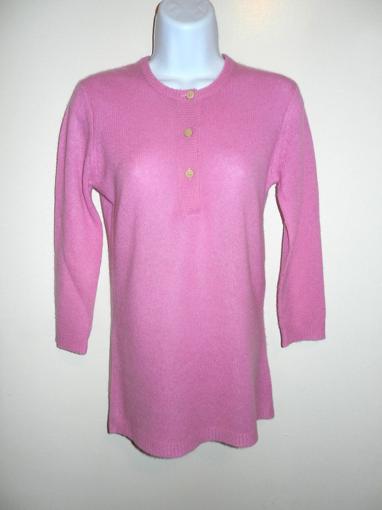 C & C CALIFORNIA 100% СASHMERE LIGHT PINK 3 BUTTONS HENLEY 3 4 SLEEVES SWEATER S