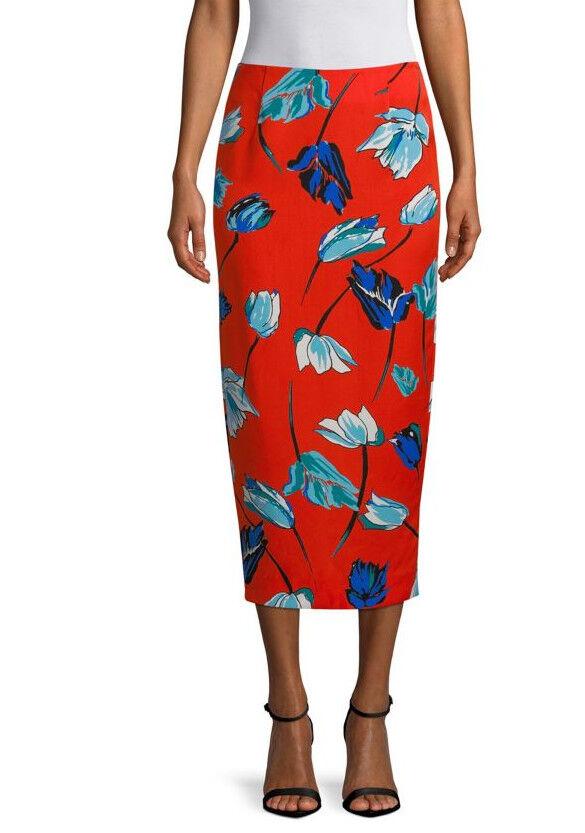 NWT Diane von Furstenberg Floral Dressy Midi Pencil Skirt Asher Vermillion