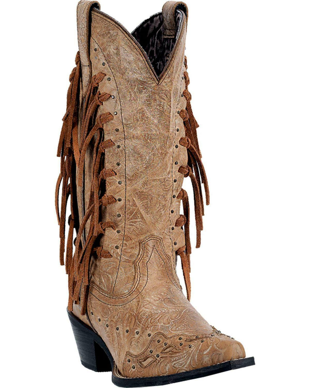 LADIES LAREDO TYGRESS FRINGE WESTERN BOOTS 52031 SNIP TOE