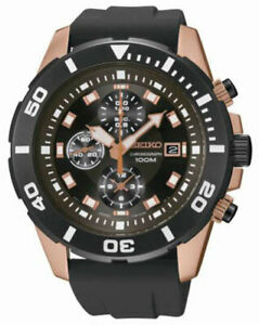 Seiko SNDE04 SNDE04P1 Mens Watch Sports Chronograph WR100m BLACK NEW RRP $595.00