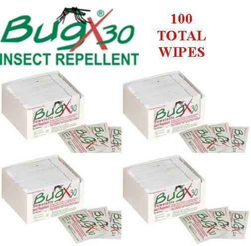 Bug X 30 Insect Repellent with DEET (30%) , 4 Boxes of 25 Wipes.100 Total Wipes