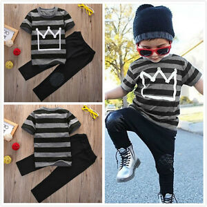 Toddler-Kids-Baby-Boys-Clothes-T-shirt-Tops-Tee-Pants-Trousers-2pcs-Outfits-Set