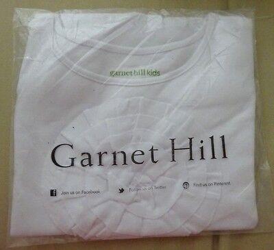 NEW Garnet Hill Girls White Tee Top Large Circle Flower Detail Size Medium 6 - 7