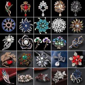 f5fa51f10d4 Image is loading Vintage-Pearl-Crystal-Heart-Flower-Wedding-Bouquet-Brooch-