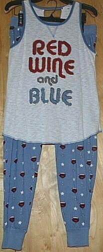 PJ Salvage 2 PC SET Red Wine /& Blue Sleeveless Top Blue With Wine Stars Pants M